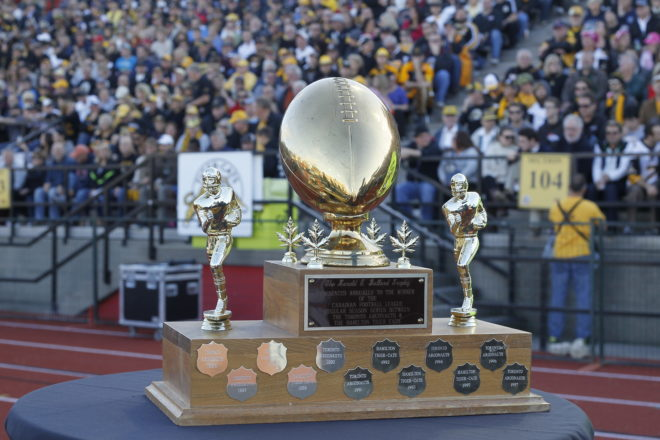 Oct 14, 2013; Guelph, Ontario, CAN; Hamilton Tiger-Cats defeat the Toronto Argonauts 24-18 at the Alumni Stadium. Mandatory Credit: John E. Sokolowski